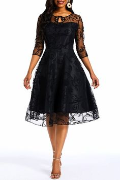 Ericdress Lace Mesh Knee-Length A-Line Patchwork Dress online shopping mall, buying fashion dresses & rapid delivery. Start your amazing deals with big discounts! Ladies Day Dresses, Frock For Women, Plain Dress, Patchwork Dress, Dna, Knee Length Dresses, Retro Dress, Buy Dress, Formal