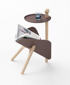 ETable Diseño Davide Anzalone Mesa auxiliar con un lugar para revistas. Su estructura es de madera sólida, el bastidor está realizado por chapa doblada. Su forma alienígena amigable es una nueva alternativa para una sala de estar. http://www.davideanzalone.com/