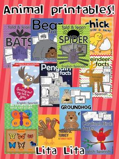 Learn about seasonal animals with this printable crafts for K-2 Now BUNDLED.  $ English-Spanish