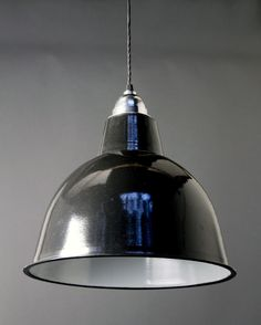 ENAMEL PENDANT LIGHT - Black enamel industrial pendant light, with white interior.  This classic industrial factory light is suitable for many styles of property, and is also available in white and grey.