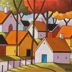 12x16 Town View ORIGINAL MODERN FOLK ART LANDSCAPE ABSTRACT PAINTING Horvath NR