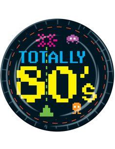 8 piatti in carta in tema anni '80 dimensione 23 cm su VegaooParty, negozio di articoli per feste. Scopri il maggior catalogo di addobbi e decorazioni per feste del web,  sempre al miglior prezzo!
