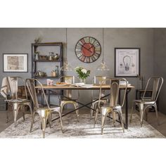 Get inspired by Industrial Dining Room Design photo by Wayfair Home. Wayfair lets you find the designer products in the photo and get ideas from thousands of other Industrial Dining Room Design photos. Buy Dining Table, Wooden Dining Tables, A Table, Dining Set, Industrial Style Kitchen, Industrial Dining, Country Dining Rooms, Kitchen Chairs, Dining Room Design