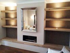 love - colour of paint/wallpaper behind, Solid Oak shelves