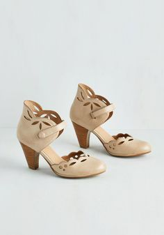 Upswing in Your Step Heel in Latte. With a-one, and a-two, and a-one, two, three, youre on the dance floor in a flash clad in these beige heels from Miz Mooz! #tan #modcloth