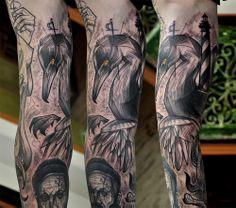 Lukas Zglenicki- Cykada Sopot #tattoo #cormorant #sleevetattoo