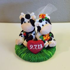 Custom Cow Wedding Cake Topper by carlyace on Etsy, $34.95