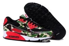 new concept a5a28 70032 Noir Rouge Vert Nike Air Max 90 Print Camo Homme Running Pas Cher Running  Shoes For