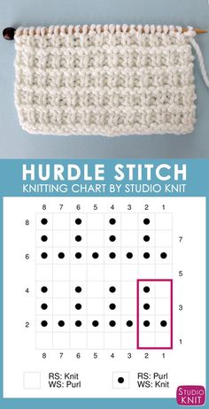 to Knit the Hurdle Stitch with Studio Knit. Hurdle Stitch Knitting Chart with Free Written Pattern and Video Tutorial by Studio KnitSuper helpful! Hurdle Stitch Knitting Chart with Free Written Pattern and Video Tutorial by Studio Knit Knitting Stiches, Knitting Charts, Loom Knitting, Knitting Patterns Free, Knit Patterns, Free Knitting, Baby Knitting, Stitch Patterns, Knit Stitches