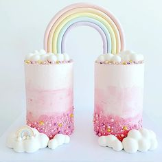 How stunning is this rainbow cake! Fit for a princess Rainbow First Birthday, Baby First Birthday, Twin Birthday Cakes, Twins Cake, Twins 1st Birthdays, Rainbow Parties, Sweet Cakes, Birthday Parties, Birthday Ideas