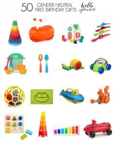 Saving this! 50 Awesome first birthday gifts for boys or girls. Most are battery free, educational and super cute!