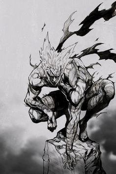 Today hero hunter will hunt thousand heroes~ Garou Anime One, Anime Guys, Manga Drawing, Manga Art, Opm Manga, Character Art, Character Design, Saitama One Punch Man, One Punch Man Manga