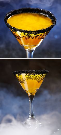 Halloween Spirit Cocktail recipe: 3 oz Resposado Tequila 1 oz Grand Marnier 1 oz Fresh Squeezed Lemon Juice .25 oz Organic Amber Agave Syrup 2 dashes Orange Bitters Combine ingredients in a shaker with ice + shake vigorously. Strain into a black-sugar rimmed martini glass and serve.