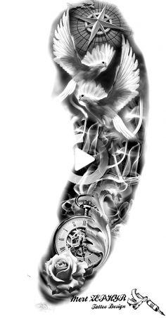 Tribal Chest Tattoos, Forearm Sleeve Tattoos, Best Sleeve Tattoos, Tattoo Sleeve Designs, Tattoo Designs Men, Dove Tattoo Design For Men, Clock Tattoo Sleeve, Realistic Tattoo Sleeve, Paisley Tattoos