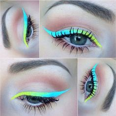 neon gradient eyeliner using Lime Crime liquid liners in BlueMilk & Citreuse Eyeliner Designs, Eye Makeup Designs, Makeup Blog, Makeup Art, Beauty Makeup, Hair Makeup, Pastel Makeup, Makeup Goals, Makeup Inspo