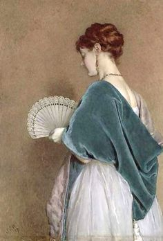 https://flic.kr/p/6zV361 | Woman with a Fan, 1871, James Dawson Watson. The color, the texture, the light