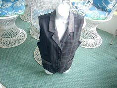 FUNDAMENTAL THINGS Green & Gray Stripped-Checked Lined Vest Chest Women 10 #Fundamentalthings