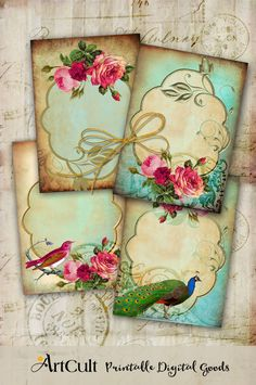 Digital Collage Sheet ROMANTIC ELEGANCE Vintage ephemera Printable downloadable images for Greeting cards, Shabby Labels, decoupage ArtCult by ArtCult on Etsy