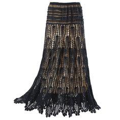 Negro Falda de encaje de ganchillo - Ropa y simbólica joyería de las mujeres - Sexy, Fantasía, modas románticas