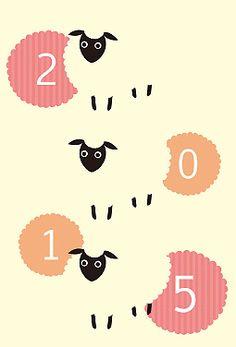 sheep///キョロキョロ羊 年賀状 2015 羊 無料 イラスト1