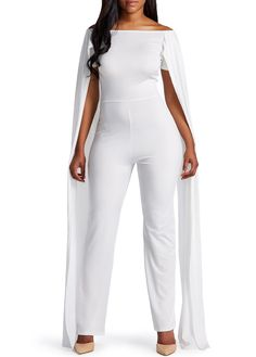 Off the Shoulder White Cloak Design Jumpsuit on sale only US$26.05 now, buy cheap Off the Shoulder White Cloak Design Jumpsuit at liligal.com