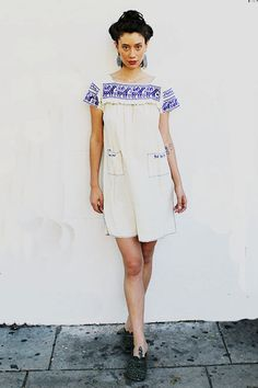 I LOVE THIS!!! Cream and Blue Guatemalan Dress on Etsy, $148.00