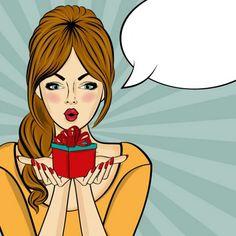 Woman with a gift, comic style Free Vector Comic Kunst, Comic Art, Pin Up Girl, Desenho Pop Art, Pop Art Images, Pop Art Women, Pop Art Wallpaper, Pop Art Girl, Adobe Illustrator