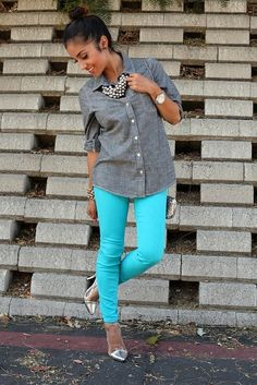 Colored jeans and button down! I just barely got this outfit today!