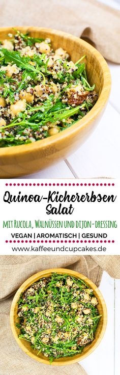 Quinoa-Kichererbsen-Salat mit Rucola, getrockneten Tomaten, Walnüssen und einem… Quinoa and chickpea salad with rocket salad, sun-dried tomatoes, walnuts and a Dijon-lemon dressing with garlic Seafood Recipes, Mexican Food Recipes, Ethnic Recipes, Quinoa Chickpea Salad, Avocado Spread, Homemade Burgers, Homemade Salsa, Salad Recipes, Healthy Recipes