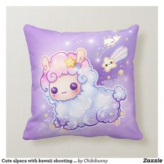 Shop Cute alpaca with kawaii shooting star throw pillow created by Chibibunny. Kawaii Alpaca, Cute Alpaca, Funny Throw Pillows, Cute Pillows, Throw Blankets, Homemade Pillows, Make Your Own Pillow, Alpaca My Bags, Couch And Loveseat
