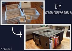 DIY coffee table made from simple craft store crates.