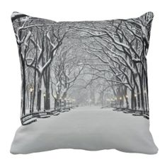Central Park in Winter 2 Throw Pillows