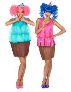 Déguisement de duo cupcake fantaisie femme : Déguisement cupcake turquoise femmeCedéguisement de cupcake se compose d'une robe et d'un serre-tête (perruque et chaussures non incluses). Le haut de...