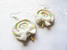 Big Bow Pastel Rainbow Lollipop Earrings Candy Earrings