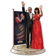 Barack And Michelle Obama Commemorative Tribute Hand-Painted Sculpture Michelle Obama Doll, Barack And Michelle, African American Figurines, African American Art, American Women, American History, Thomas Blackshear, Black Figurines, Sculptures