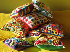 pile o' crochet pillows: from Elizabeth Cat's photostream on Flickr