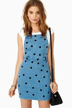 Dotty Denim Jumper by Nasty Gal