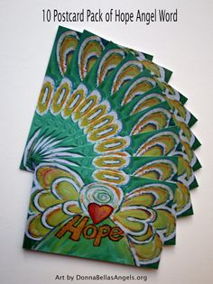 Hope Heart Word Green Angel Inspirational Art Painting Postcard (10 Cards Package) by DonnaBellas Angels
