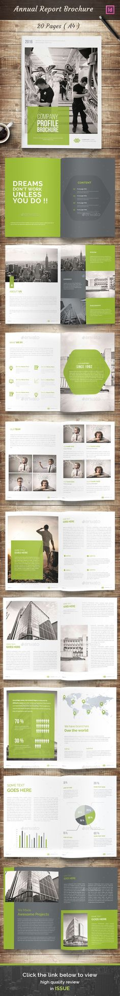 20 Pages A4 Annual Report Brochure Template InDesign INDD. Download here: http://graphicriver.net/item/annual-report-brochure/15487461?ref=ksioks: