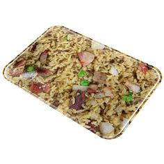 Chinese Pork Fried Rice All Over Glass Cutting Board