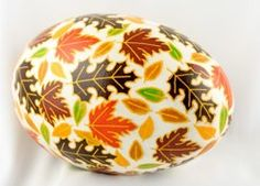 """Autumn Leaves. Ukrainian Easter eggs. A note on pronunciation, despite what you may have heard on television, a supplier of pysanky tools or from an instructor in a local class, """"Pysanka"""" is correctly pronounced """"Pih-sahn-kah""""  with the plural """"Pih-sahn-kih"""". All with short vowels.  The term """"pysanky"""" is not, never was, nor will it ever be correctly pronounced """"pie-SAN-kee or pizz-an-ki"""""""