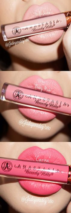 Perfect shades of pink lipstick (Anastasia Beverly Hills Milkshake. Anastasia Beverly Hills Baby Pink. Anastasia Beverly Hills Carina.)