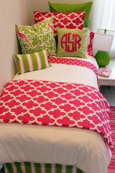 This pink & green girl's college dorm bedding is FABULOUS!  Very Lily inspired.  And the monogrammed pillow!!!!