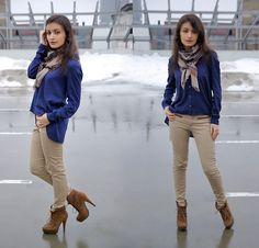 Vero Moda Blue Shirt, Zara Beige Jeans, Odeon Suede Ankle Boots, Vintage Scarf