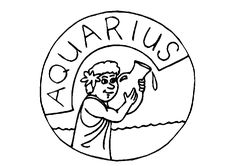 Aquarius Zodiac Sign Colroing Page Space Coloring Pages, Mandala Coloring Pages, Coloring Pages For Kids, Zodiac Signs Colors, Zodiac Signs Aquarius, Printable Coloring Sheets, 12 Signs, Zodiac Constellations, Free