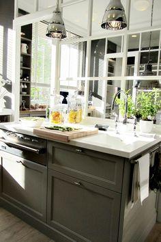 Deulonder - kitchens - gray cabinets, gray cabinetry, gray kitchen cabinets, gray kitchen cabinetry, polished nickel hardware, stainless ste...
