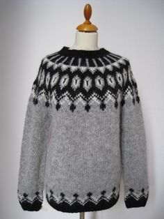 """Handmade Icelandic wool sweater or """"Lopapeysa"""" as we call it, knitted in Iceland"""