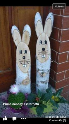 Deko - Easter - Deko - Easter - This image has . Wood Log Crafts, Diy For Kids, Crafts For Kids, Yard Art, Easter Crafts, Easter Bunny, Happy Easter, Diy And Crafts, Christmas Crafts