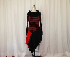 Upcycled sweaters tunic dress long sleeve black red refashioned sweater/women altered couture
