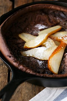 OMG.  Chocolate German Pancake!  =O9  Must try with my pears in sage & brown butter sauce! Chocolate Dutch Baby with Caramelized Pears from @Lindsay Landis | Love and Olive Oil